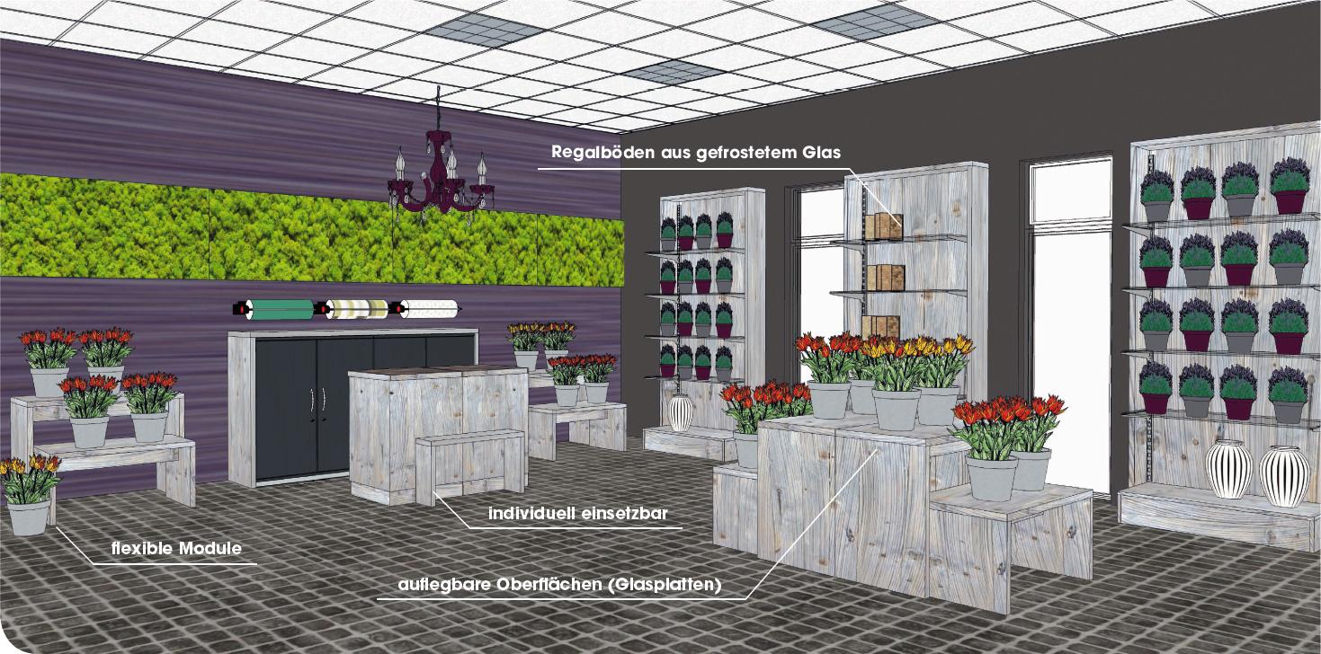 Attraktive Präsentationsflächen für Floristik-Läden