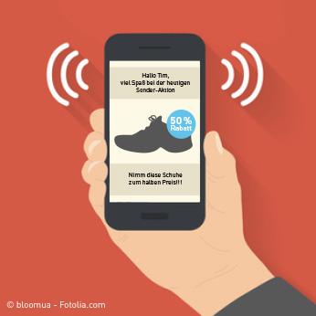 Beispielhafte Anzeige über iBeacon beim Betreten eines Schugeschäfts