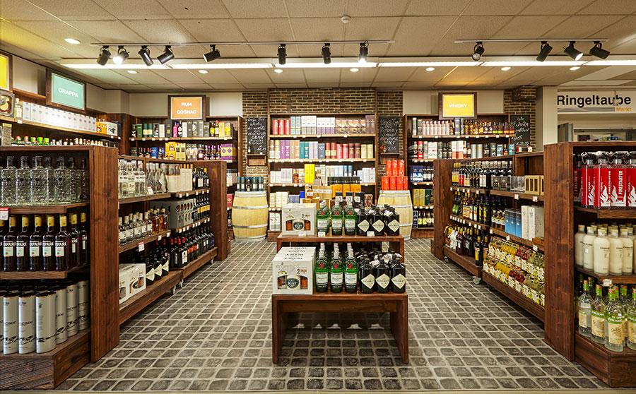 Die neue Whisky- und Champagnerabteilung im LSG Ringeltaube Markt Frankfurt.